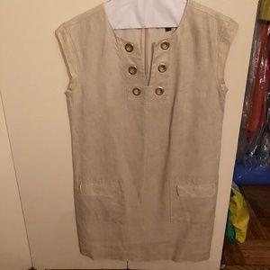 JCREW Metallic Gold Linen Shift Dress w/Grommets